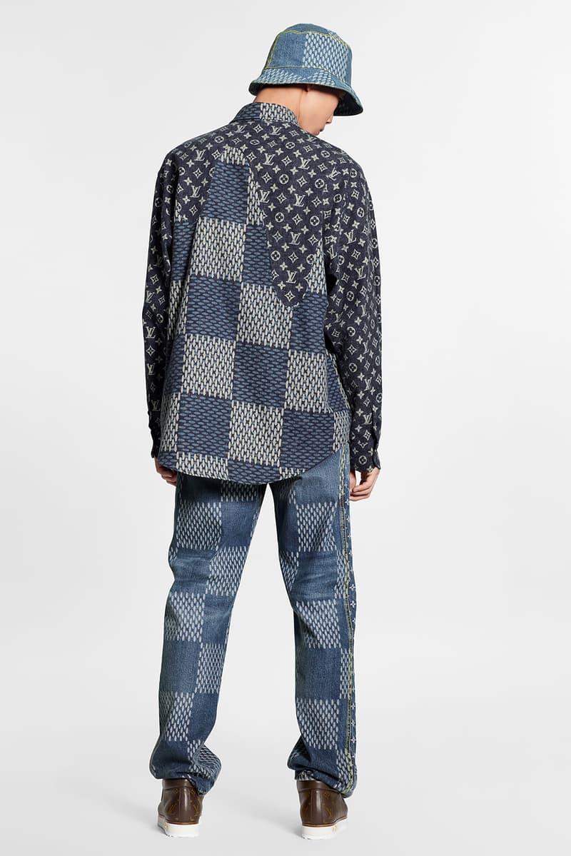 louis vuitton nigo virgil abloh lv2 collaboration drop 1 denim jackets hoodies bags hats shoes monogram black blue