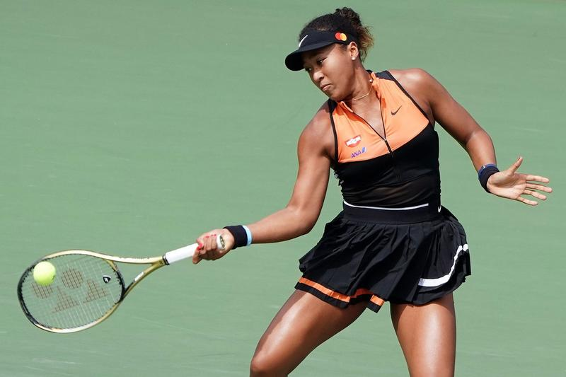 Naomi Osaka Tennis Match Playing Court