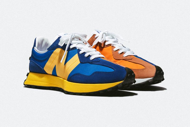 newn balance 327 sneakers blue orange grey black white yellow pink colorway sneakerhead footwear shoes