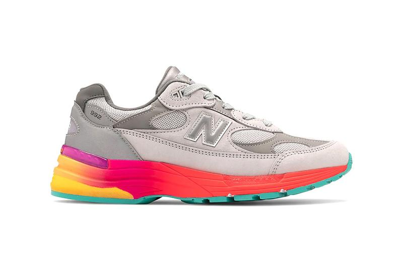 new balance 992 sneakers grey pink yellow blue purple multi colored sole shoes footwear sneakerhead
