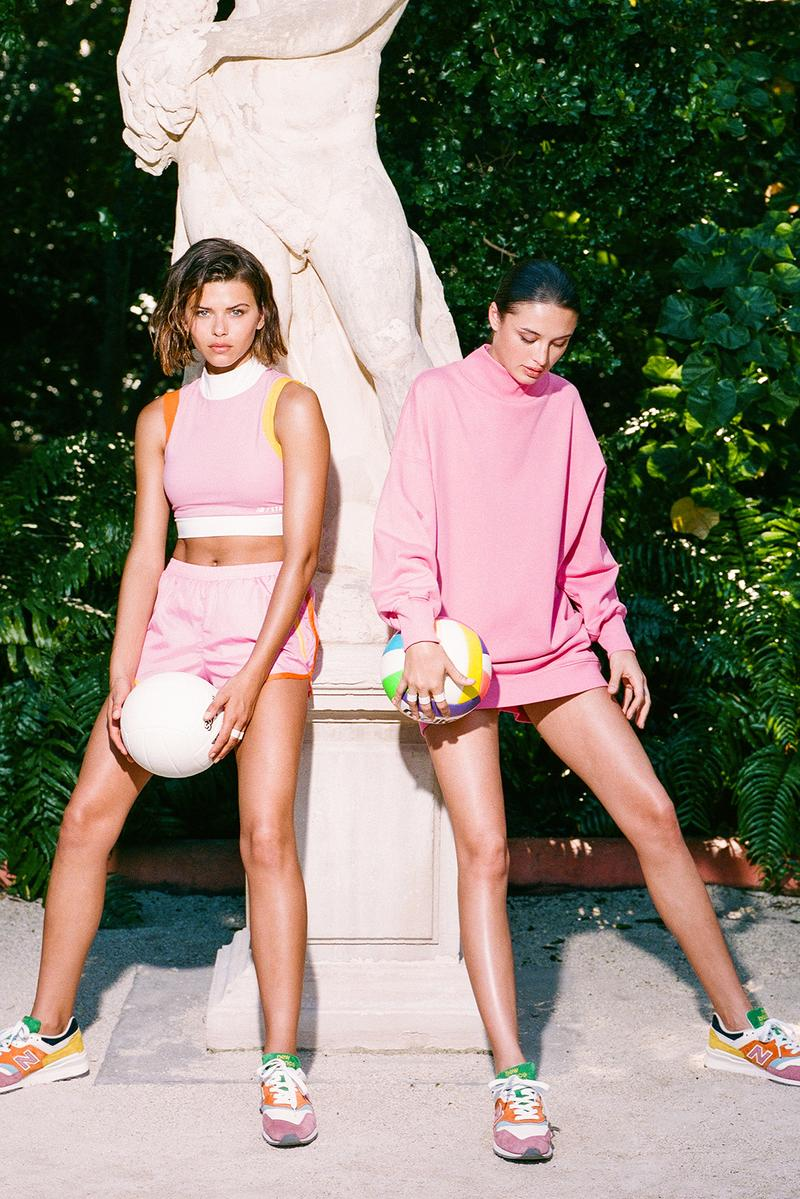 new balance staud collaboration 997 sneakers crop tops leggings shorts activewear bags green blue pink