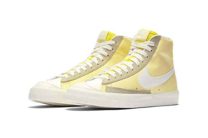 nike blazer mid 77 womens sneakers pastel yellow purple white colorway shoes