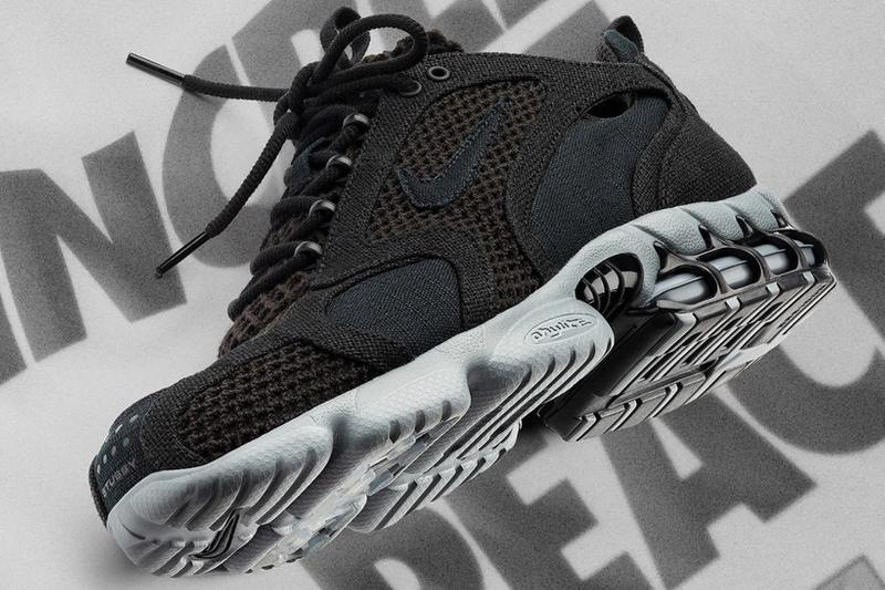 nike stussy air zoom spiridon cage 2 collaboration sneakers black cool grey t shirt white graphic increase the peace sneakerhead footwear shoes