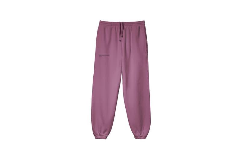 pangaia botanical collection tracksuits hoodies track pants loungewear sustainability natural dye pink green