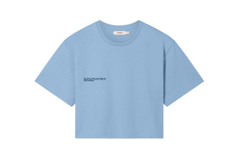 Pangaia Seaweed Family Collection Crop T-Shirt Pale Blue