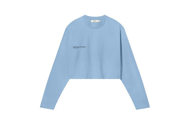 Pangaia Seaweed Family Collection Long Sleeve Crop Pale Blue