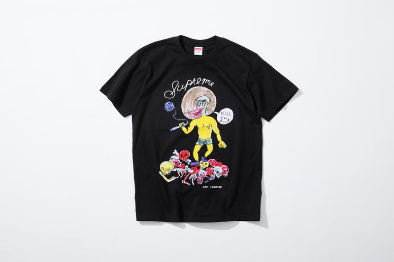 supreme daniel johnston spring summer collaboration art shirts black blue orange pink green white