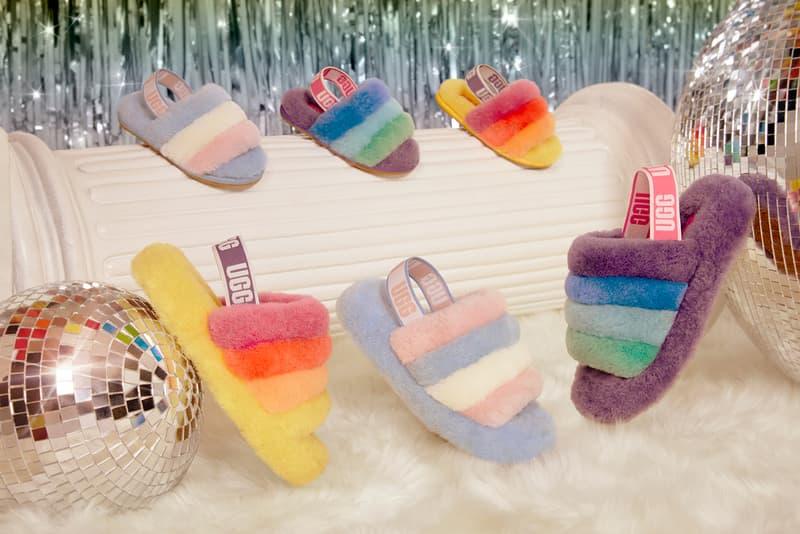 ugg all gender unisex pride month lgbtq collection disco checker slide fluff yeah rainbow colorway