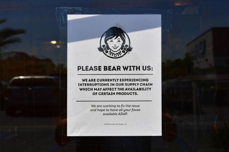 Wendy's Store Burger Meat Shortage Sign Announcement
