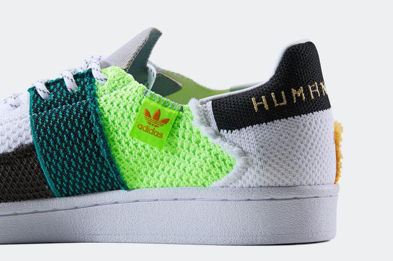 adidas originals pharrell williams collaboration superstar sneakers black white neon green blue shoes footwear sneakerhead