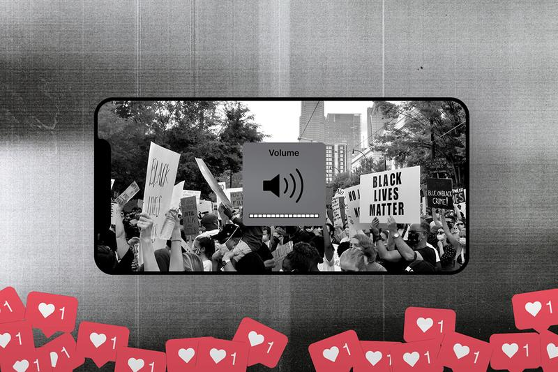 Black Lives Matter protest signs social media instagram likes heart iphone mobile phone volume