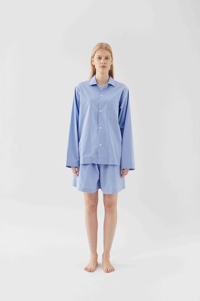 tekla unisex sleepwear loungewear collection sustainable shirts trousers shorts pink blue