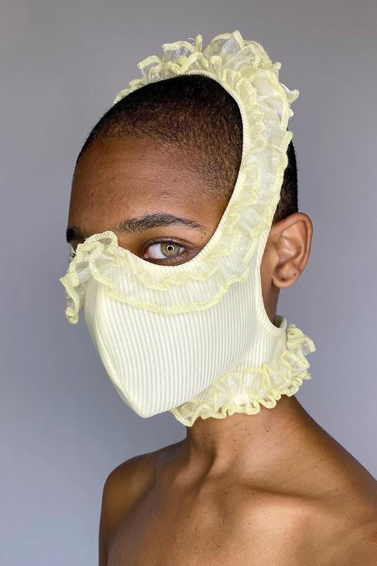 Tia Adeola Ruffle Face Mask Red
