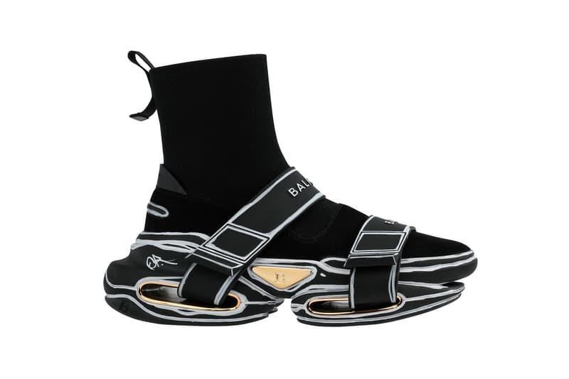 balmain olivier rousteing custom designer sneakers black sneakerhead shoes footwear