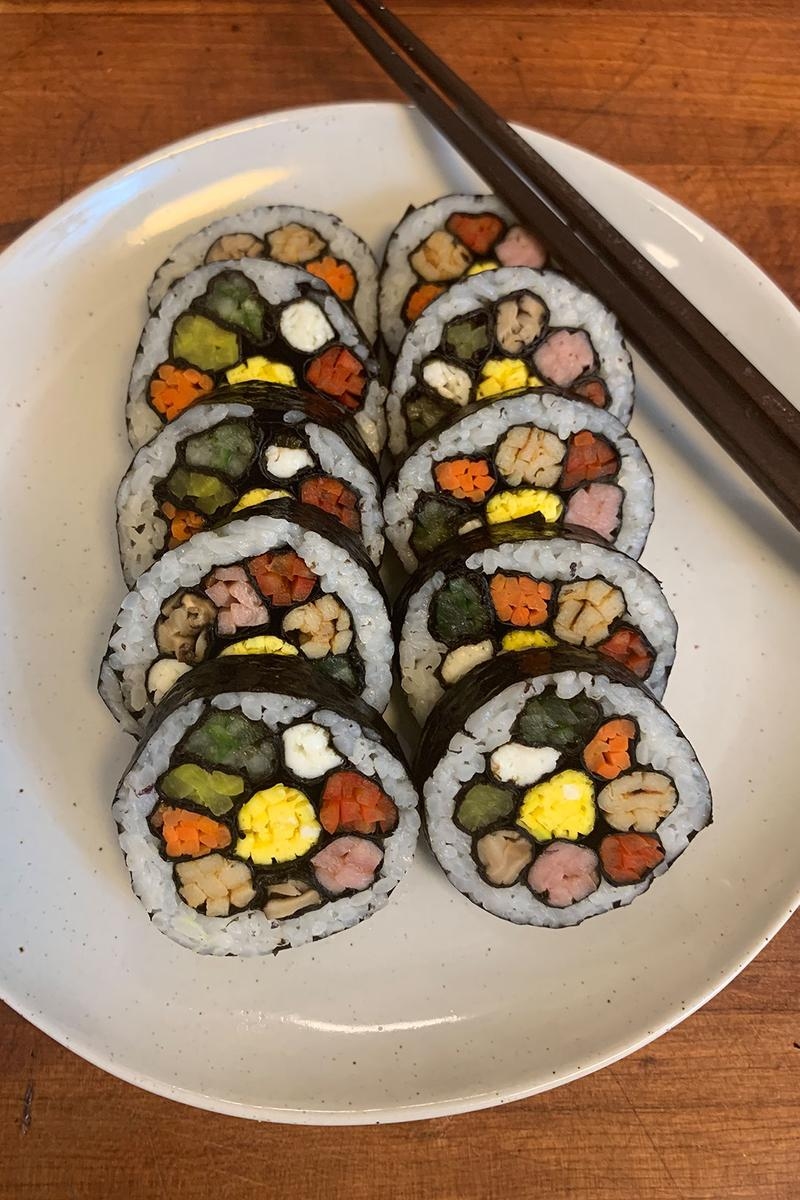 how to make flower kimbap korean food recipe cooking tutorial mokbar ms yoo nyc esther choi