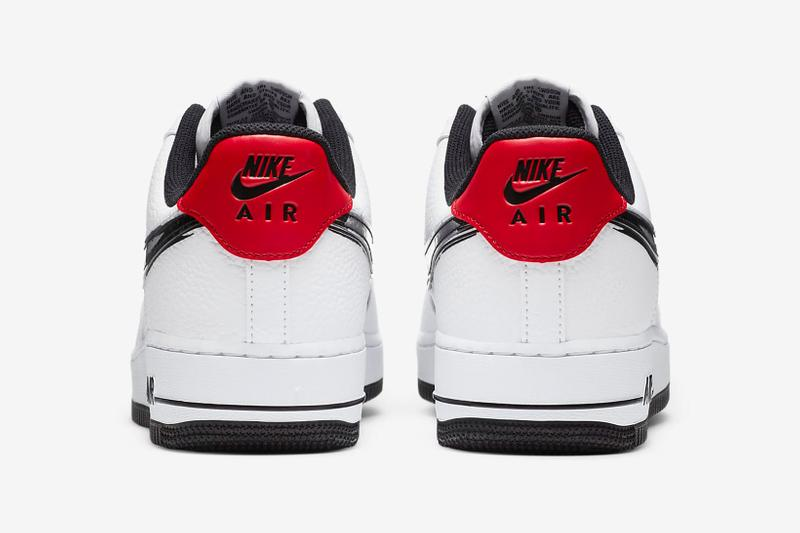 nike air force 1 07 sneakers paint brushstroke swoosh pack red white black shoes footwear sneakerhead