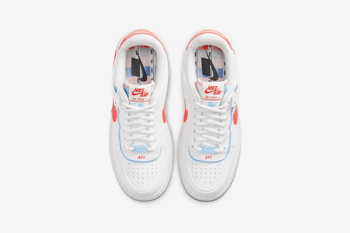 Nike Women Air Force 1 Shadow White Neon Orange Hypebae Nike's air force 1 shadow se in summit white/team orange/psychic blue retails for $110 usd, which you can now cop via the sportswear giant's web store. air force 1 shadow white neon orange