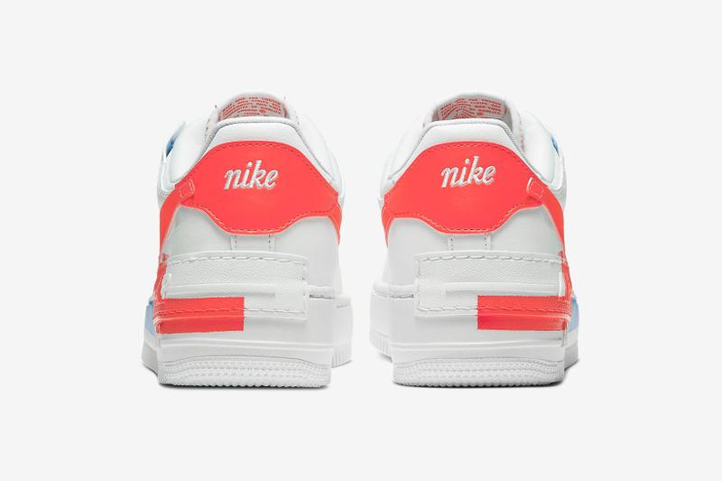 nike air force 1 shadow se womens sneakers white neon orange blue sneakerhead footwear shoes