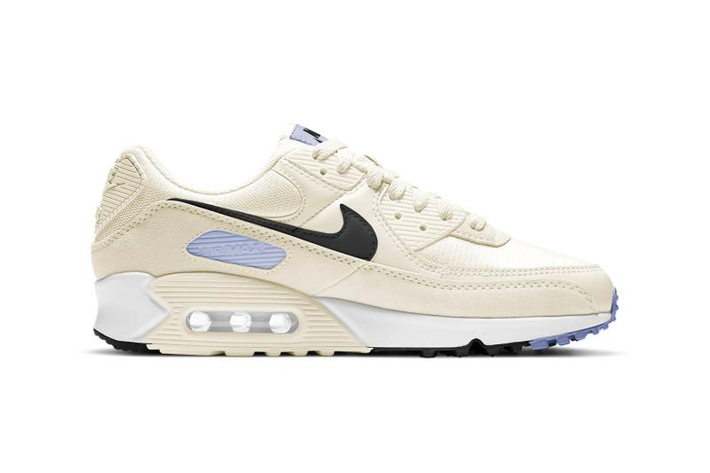 nike air max 90 womens sneakers cream white pastel purple black shoes footwear sneakerhead