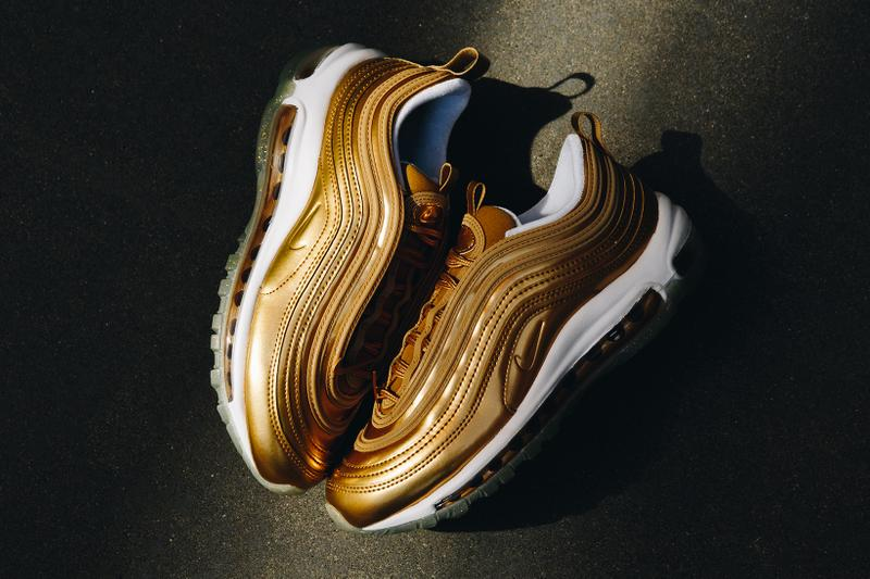 nike air max 97 womens sneakers metallic gold white shoes footwear sneakerhead