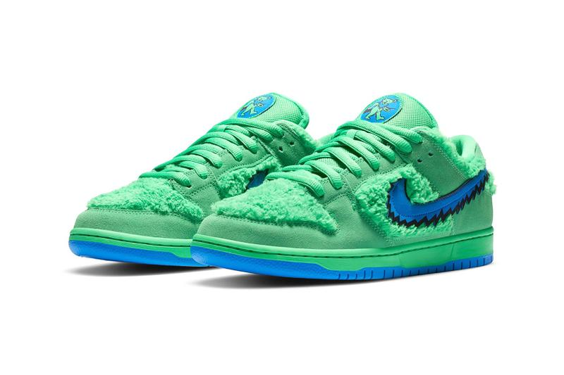 nike grateful dead collaboration sb dunk low sneakers yellow blue green-release-date