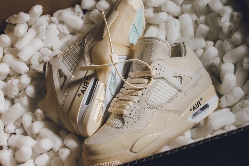 nike off white collaboration air jordan 4 sail womens exclusive sneakers stockx resale virgil abloh