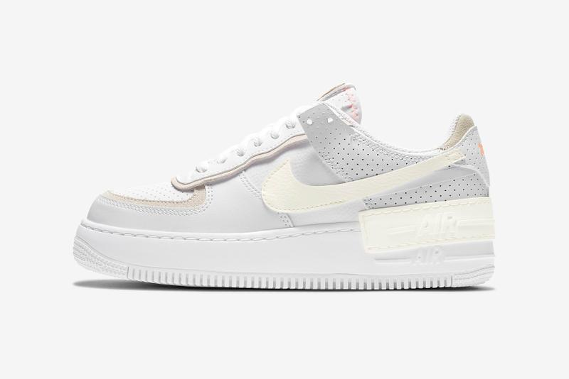 nike sportswear pastel collection womens sneakers air force 1 shadow bodysuit french terry shorts pink green white sneakerhead footwear
