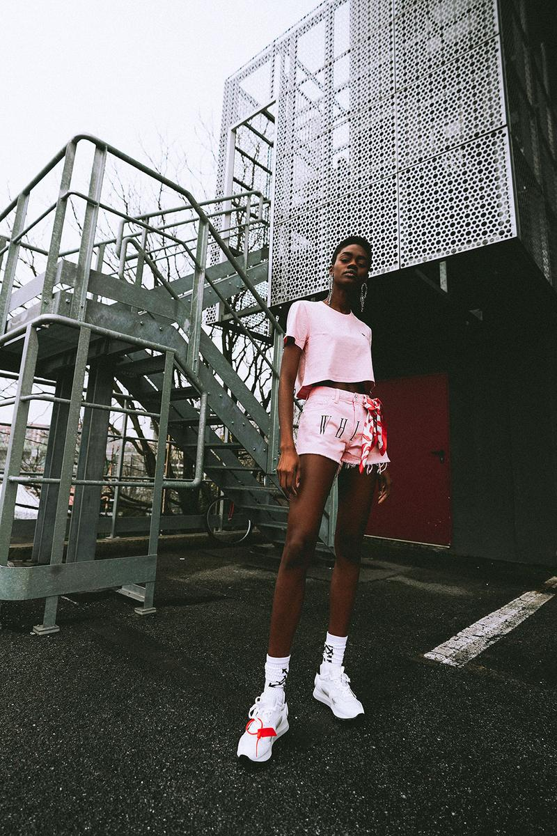 off white virgil abloh paragon singapore exclusive collection t shirts saffiano leather bag shorts pink