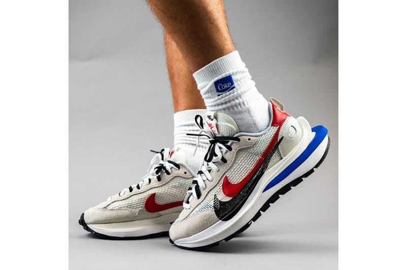 sacai x Nike VaporWaffle White Blue Red Sail Light Bone Game Royal Sport Fuchsia On-Foot Look