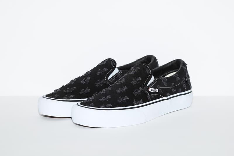 supreme vans collaboration distressed denim pack sk8 hi slip on pros sneakers black blue white shoes footwear sneakerhead