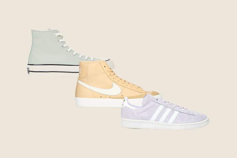 Converse Chuck 70 Mint White Canvas Hi-Top Sneakersnstuff adidas Originals Campus 80 Pastel Purple White Nike Blazer Mid Pastel Orange White Sneakers