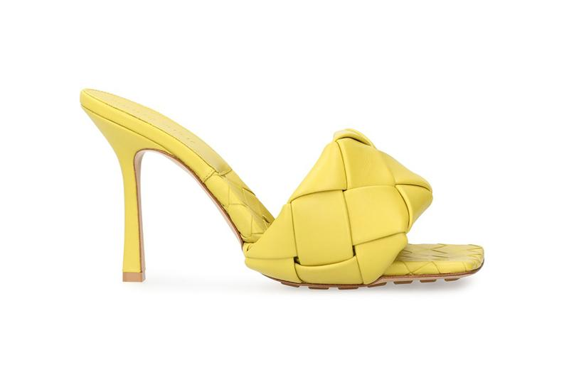 bottega veneta lido sandals square toe shoes heels yellow acid colorway