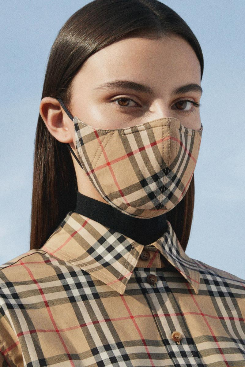 Burberry Vintage Check Face Mask PPE Release Blue Tan Beige Coronavirus COVID-19 Charity Donation