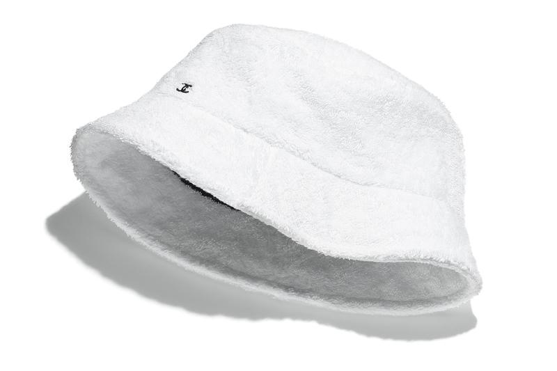 chanel bucket hats cruise 2021 collection cc logo terrycloth white black fashion accessories