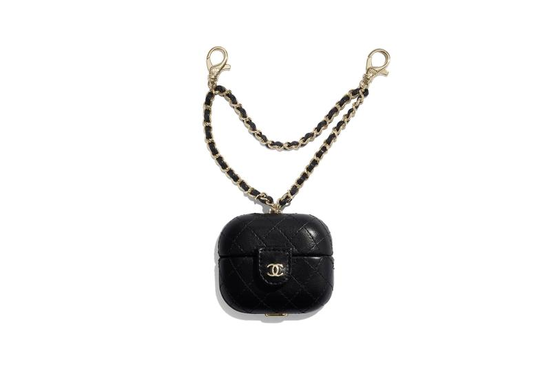 chanel fall winter collection small leather goods apple airpods cases black pink gold chain