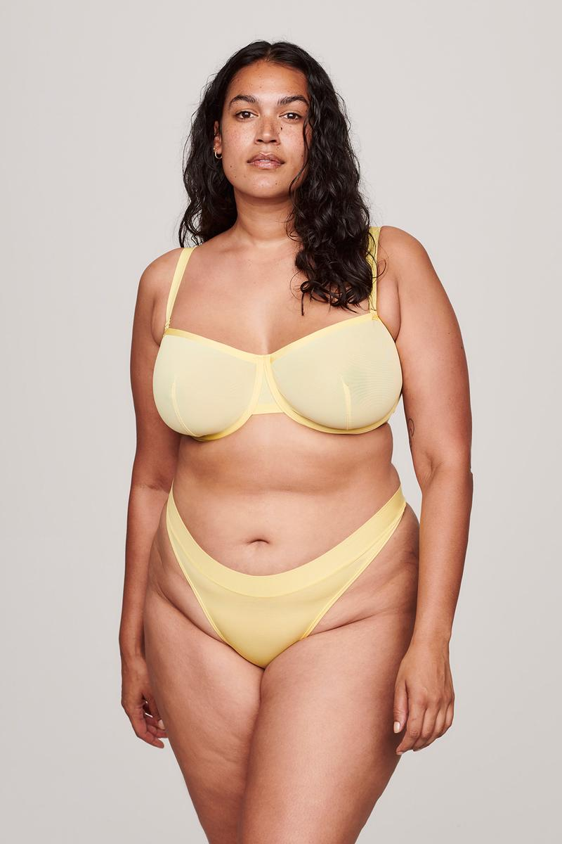 Cuup Citrine Pastel Yellow The Balconette Bra Thong Underwear Lingerie