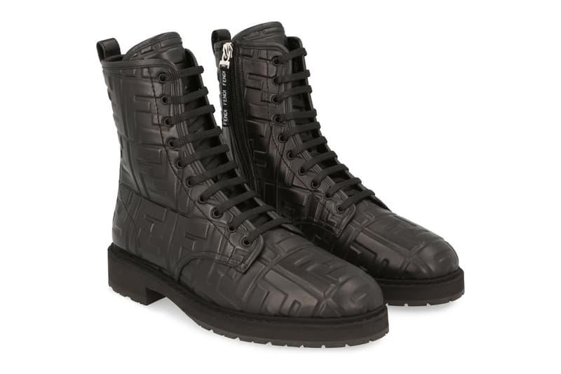 fendi monogram zucca ff logo ankle biker boots black embossed price