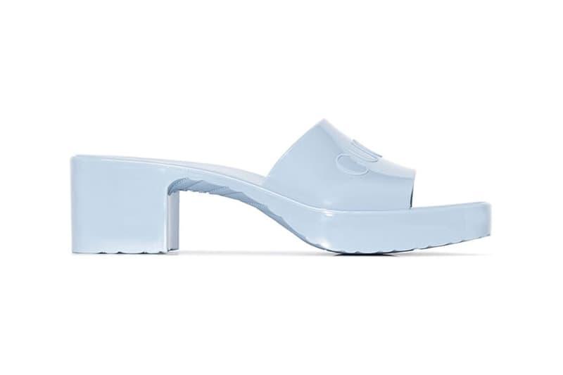 Gucci Logo Mules Rubber Slide Sandal Light Blue 55