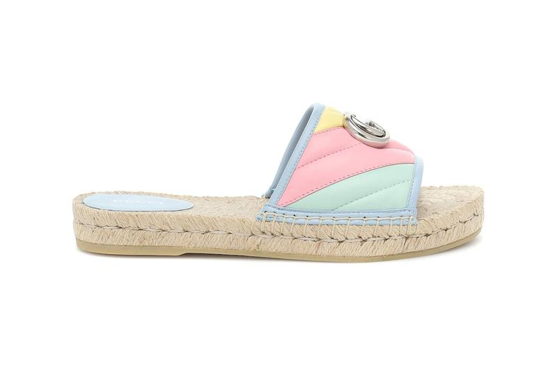 Gucci Pilar Leather Espadrille Slides Sandals Double G Yellow Green
