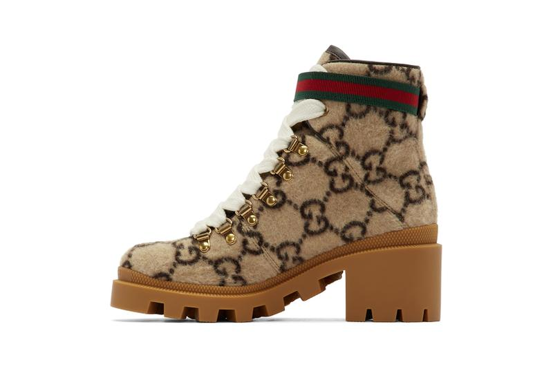 gucci wool gg ankle boots beige brown gold buckle red green designer shoes footwear