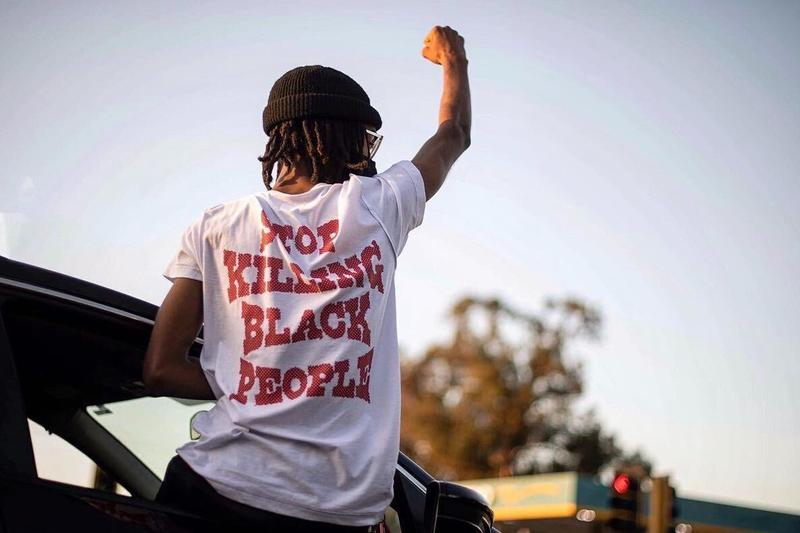 Jacob Blake Black Lives Matter Hands Up Kenosha Wisconsin Police Shooting Protests Stop Killing Black People Slogan T-Shirt