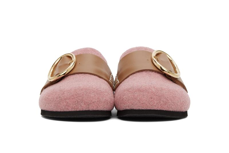 JW Anderson Felt Buckle Loafers Slip-On Shoes Pink Grey White Logo Gold Metal Hardware Fall Autumn Footwear Shoes