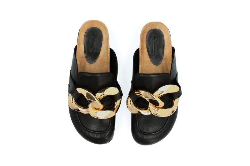 jw jonathan anderson chain loafer black gold leather shoes footwear