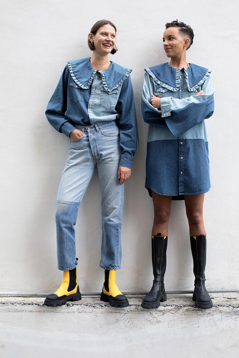 levis ganni denim collaboration rental only love letter 501 jeans sustainability upcycling repeat