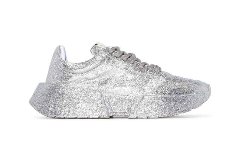 mm6 maison margiela silver glitter effect lace up sneakers