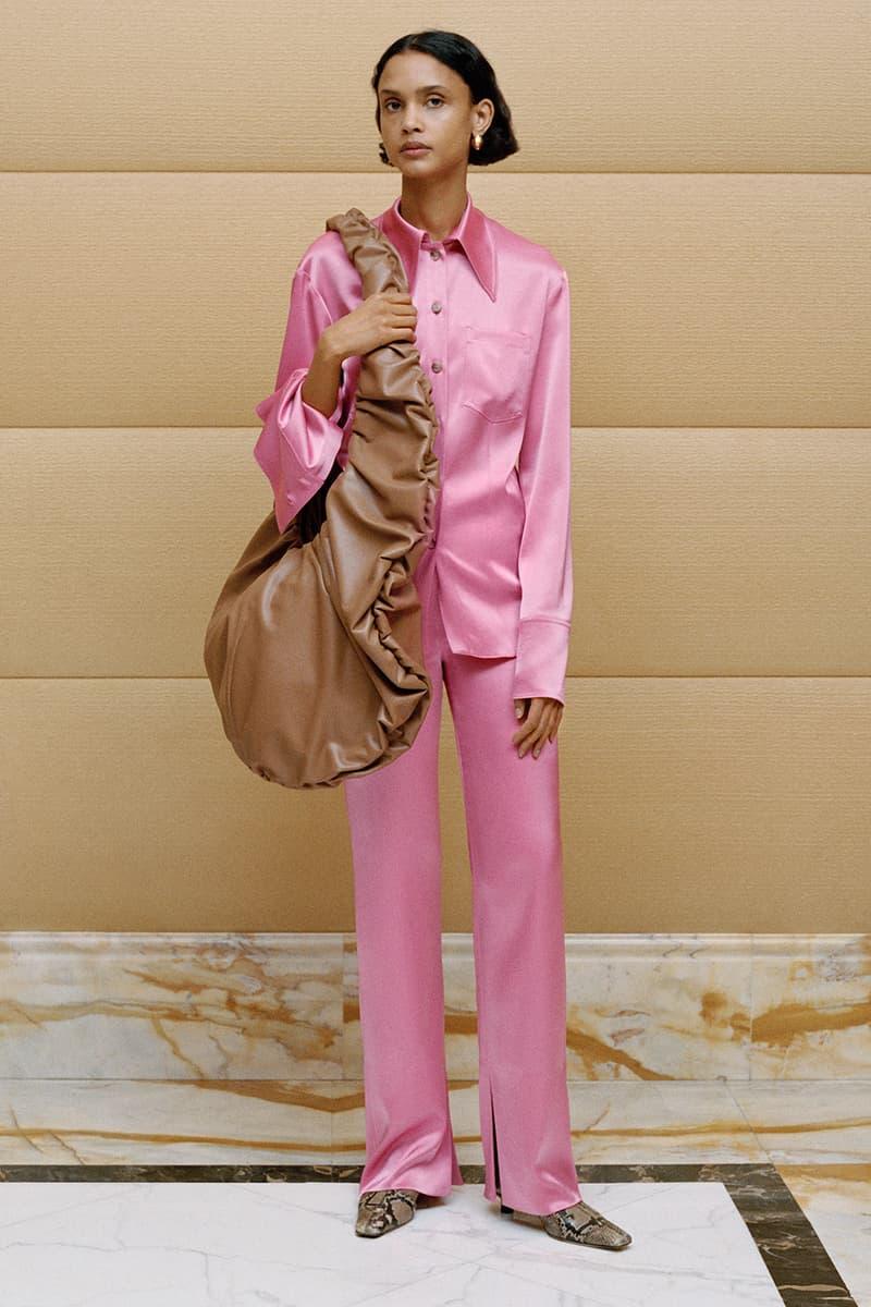 nanushka fall winter 2020 lookbook pink shirt pants faux leather shoulder bag