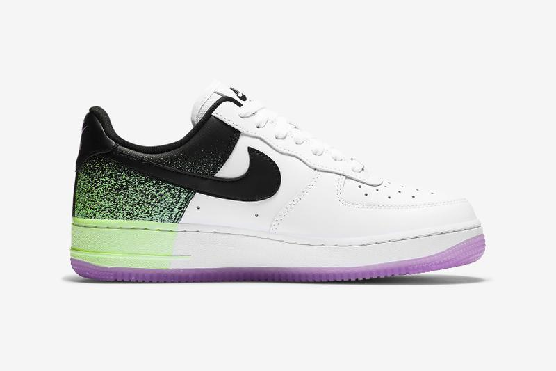 nike air force 1 07 womens sneakers neon green purple white colorway shoes footwear sneakerhead