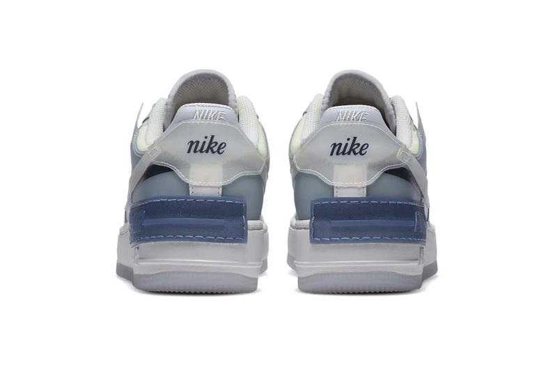 "Nike Air Force 1 Shadow SE ""Ghost/World Indigo"" White Blue Navy Sneaker Release"