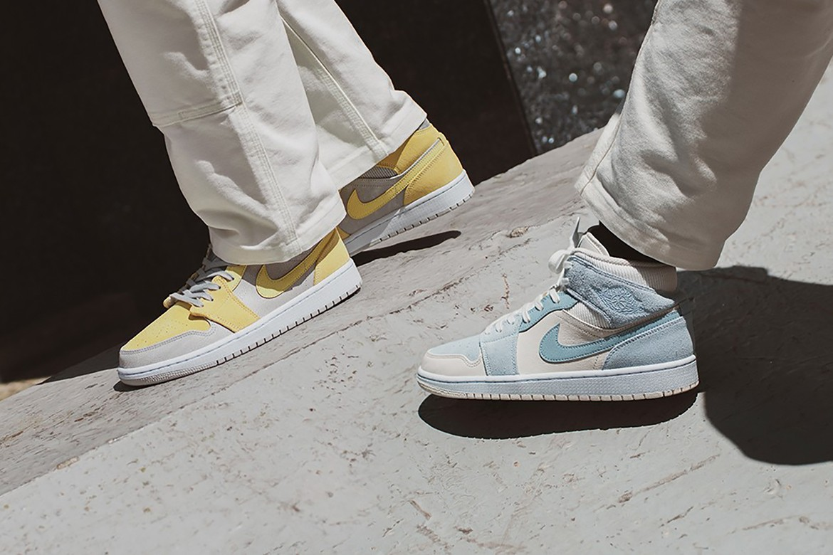 Nike Air Jordan 1 Mid Se Pastel Blue And Yellow Hypebae