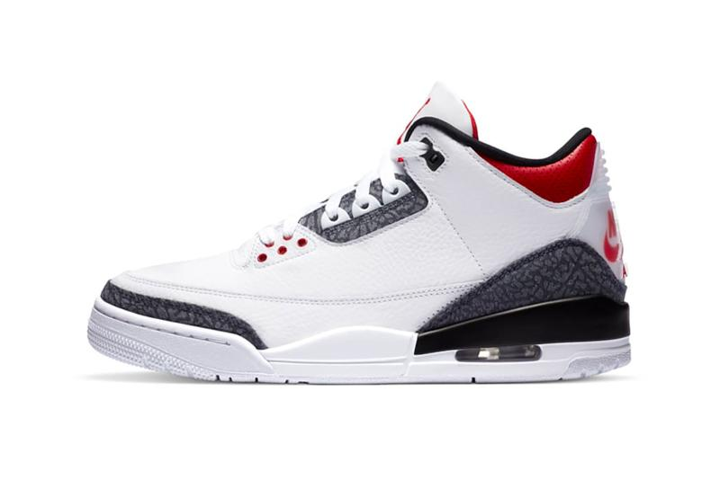 nike air jordan 3 sneakers white red gray elephant print denim japan colorway footwear shoes sneakerhead